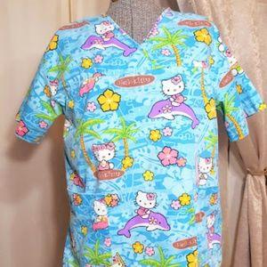 Hello Kitty Tropical Summer Fun Scrubs top sz M